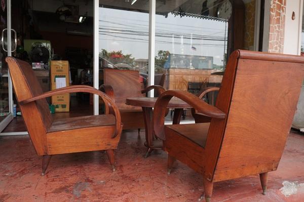ชุดเก้าอี้รถถังแขนโค้ง ขาเหลาหุ้มปลอกทองเหลือง รหัส11457cw