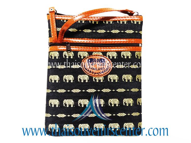 ของฝากจากไทย กระเป๋าสะพายลายช้างสายหนัง แบบ 14 สีดำ