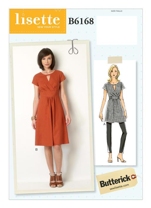 แพทเทิร์นตัดเดรส และเสื้อสตรี Butterick B6168 ไซส์ปกติ Size: 6-8-10-12-14 (อก 30.5-36 นิ้ว)