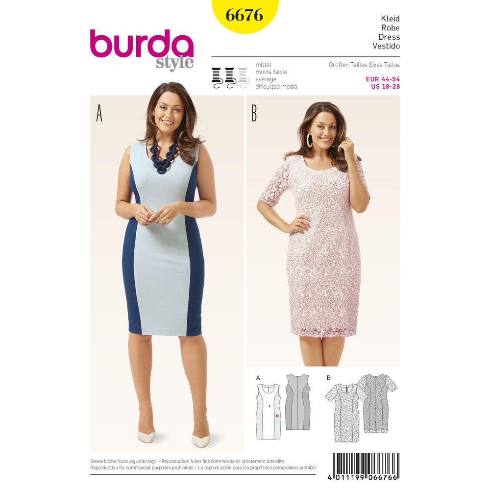 แพทเทิร์นตัดเดรสสตรี พลัสไซส์ ไซส์ 18-28 ยี่ห้อ Burda Style (6676) อก 39.5 - 50.5 นิ้ว