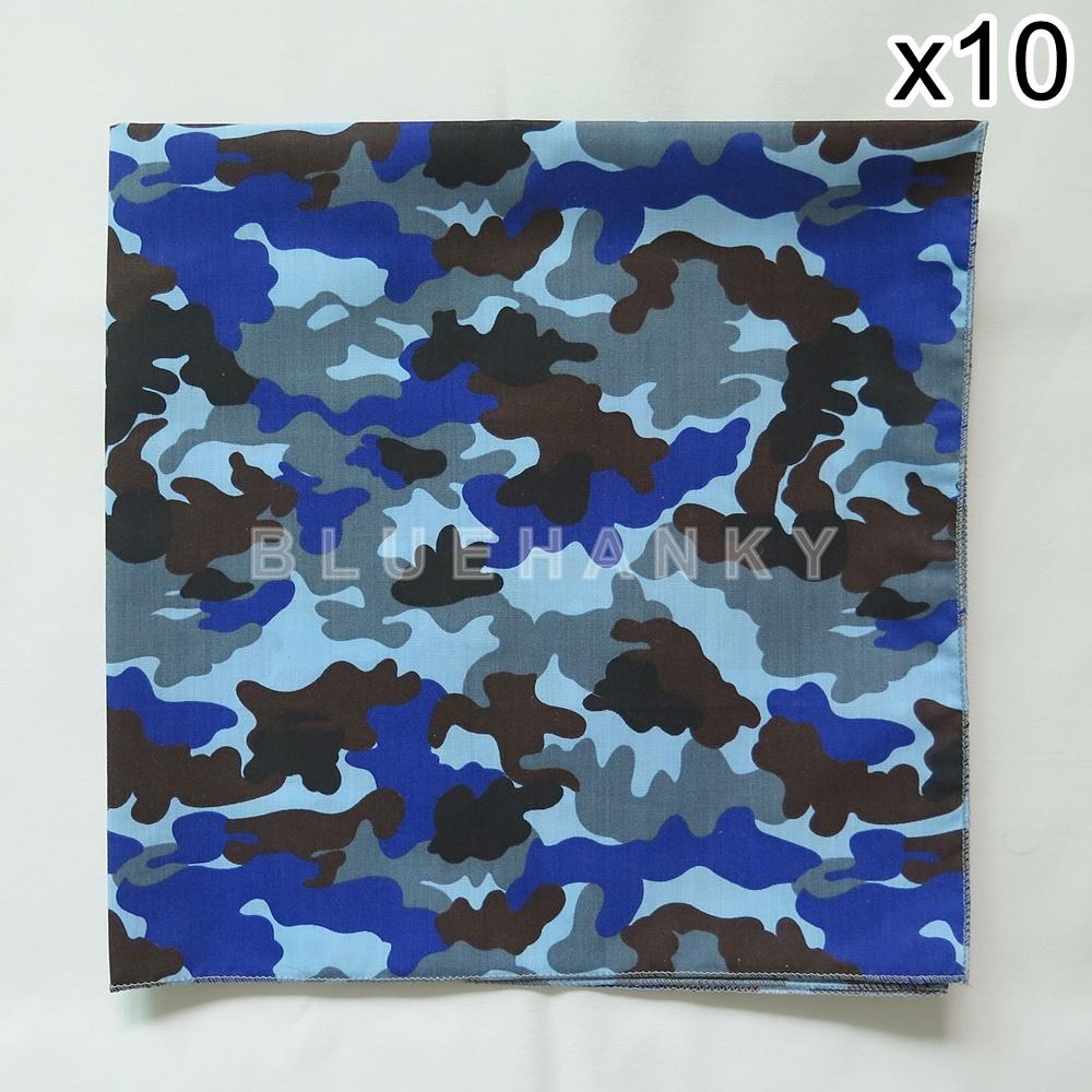 10 ผืน ผ้าพันคอ ผ้าโพกหัว ลายทหาร สีน้ำเงิน ผืนใหญ่