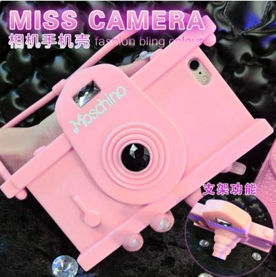 เคสไอโฟน 6 Plus /6s Plus เคสซิลิโคน Miss Camera สีชมพู