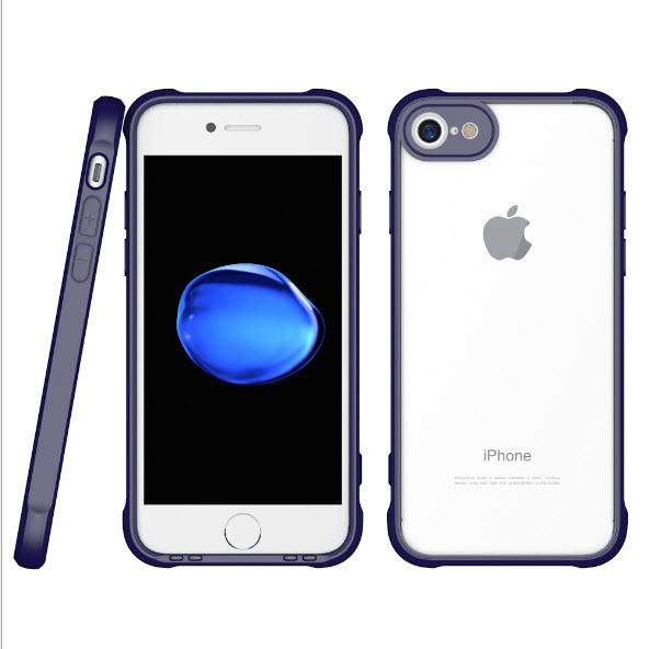 เคสไอโฟนรุ่นปกป้องกล้อง Premium (ขอบยาง หลังพลาสติกแข็ง ป้องกันเคสเหลือง) Iphone 7 (ขอบน้ำเงิน หลังใส)