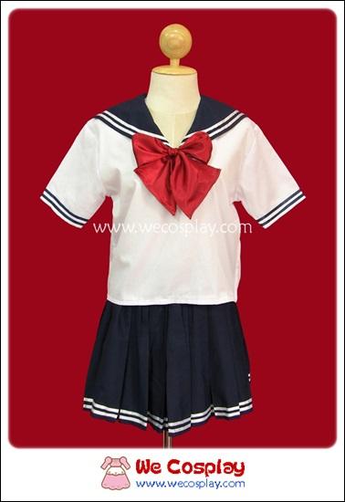 ชุดนักเรียนแขนสั้น สีขาว ปกกะลาสี โบว์แดง
