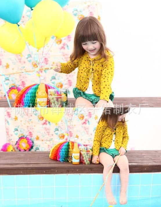 เสื้อผ้าเด็กขายส่งยกแพ็ค เสื้อคลุมเด็กน่ารัก สีเหลือง แพ็ค 5 ตัว ไซด์ 5-13
