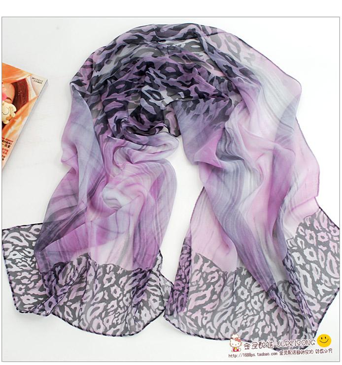 ผ้าพันคอชีฟอง เสือดาวสีม่วง ( รหัส P49 )