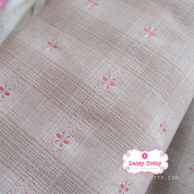 ผ้าทอญี่ปุ่น 1/4ม.(50x55ซม. โทนสีน้ำตาลส้ม ทอลายตารางแต่งดอกไม้