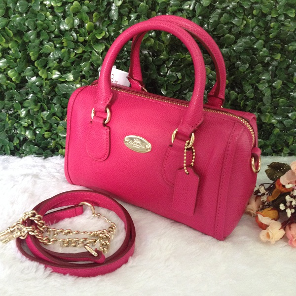 8eaeb47aed923 release date coach f34641 baby bennett satchel in crossgrain leather pink  ruby cocalo shop 517f5 05ced