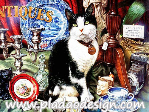 กระดาษสาพิมพ์ลาย สำหรับทำงาน เดคูพาจ Decoupage แนวภาำพ น้องแมว Jessi ทำหน้าที่ช่วยเจ้านายขายของเก่า ในร้านขายของ Antique