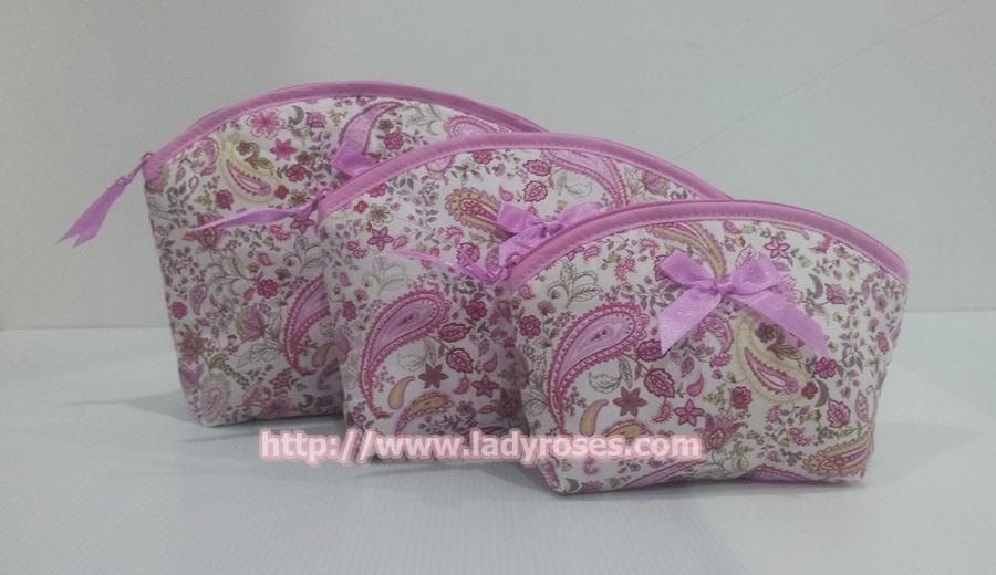 กระเป๋าเครื่องสำอางค์ นารายา ผ้าคอตตอน ลายหยดน้ำ สีชมพู เป็นชุด 3 ชิ้น Size L,M,S (กระเป๋านารายา กระเป๋าผ้า NaRaYa)