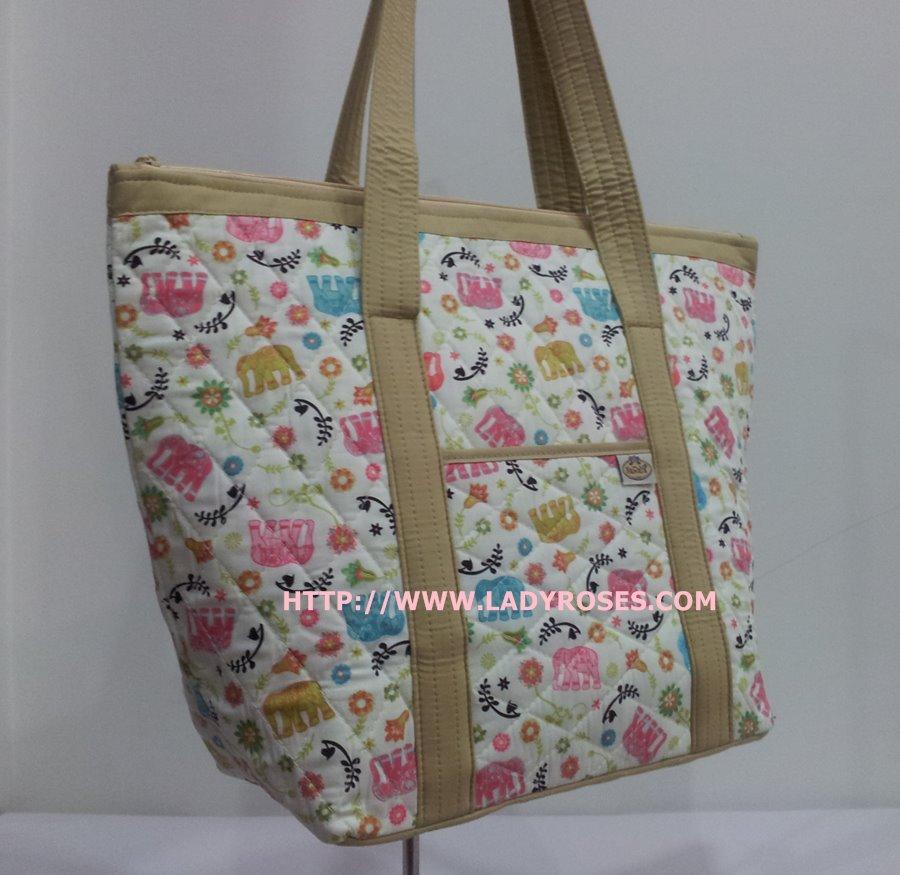 กระเป๋าสะพาย นารายา ผ้าคอตตอน ลายช้าง หลากสี มีช่อง ใส่โทรศัพท์ ด้านหน้า (กระเป๋านารายา กระเป๋าผ้า NaRaYa กระเป๋าแฟชั่น)