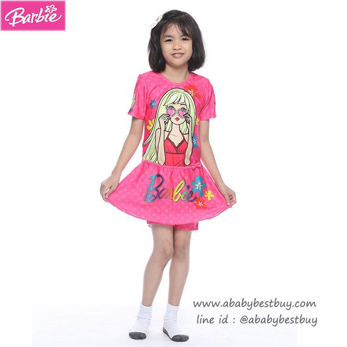 (สำหรับเด็กอายุ 6เดือน-14 ปี) Swimsuit for Girls ชุดว่ายน้ำ เด็กผู้หญิง Barbie สีชมพู บอดี้สูทเสื้อแขนสั้น ด้านล่างเป็นกระโปรง มาพร้อมหมวกว่ายน้ำ สุดน่ารัก ใส่สบาย ลิขสิทธิ์แท้
