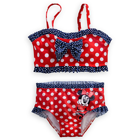 Minnie Mouse Red Swimsuit for Girls - 2-Piece (Size5-6)