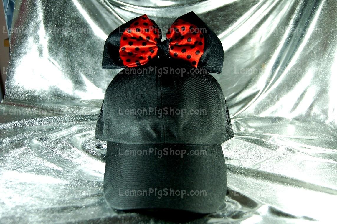 หมวกแก๊ป Cap สีดำ โบว์แดงดำ 2 ชั้น บนหมวก
