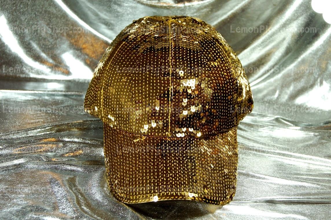 หมวก Cap ปักเกล็ดเลี่อมสีทอง