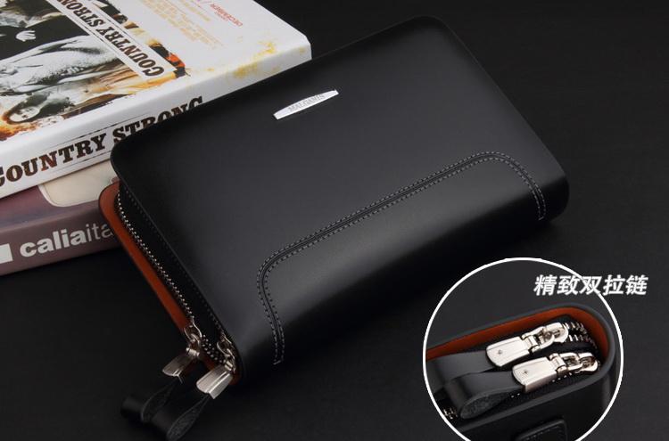 Pre-Order กระเป๋าสตางค์ กระเป๋าคลัทช์สำหรับผู้ชาย กระเป๋าธุรกิจ แฟชั่นกระเป๋าสไตล์อิตาลี หนังแท้ หนังแข็ง สีดำด้าน-สัม
