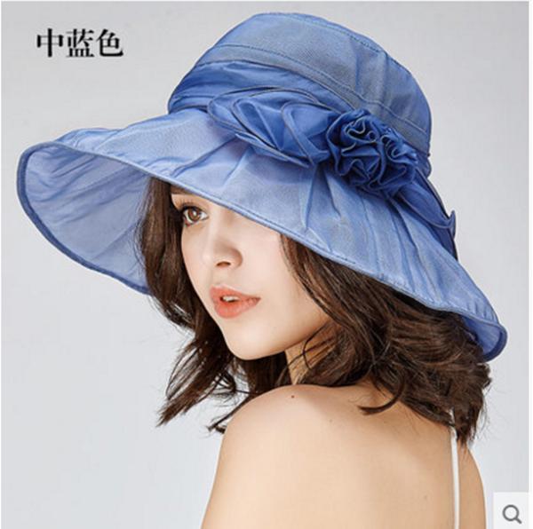 Pre-order หมวกผ้าไหมแท้ติดโบว์ดอกไม้แฟชั่นฤดูร้อน กันแดด กันแสงยูวี สวยหวาน สีฟ้าอ่อน