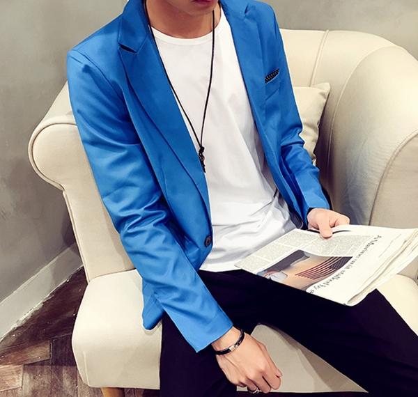 Pre-Order เสื้อสูทผู้ชาย แขนยาวผ้าฝ้ายผสม มีกระเป๋าเจาะที่อกซ้าย ติดกระดุมเม็ดเดียว แต่งริมกระเป๋าผ้าลายจุด แฟชั่นสูทสไตล์เกาหลี สีน้ำเงิน