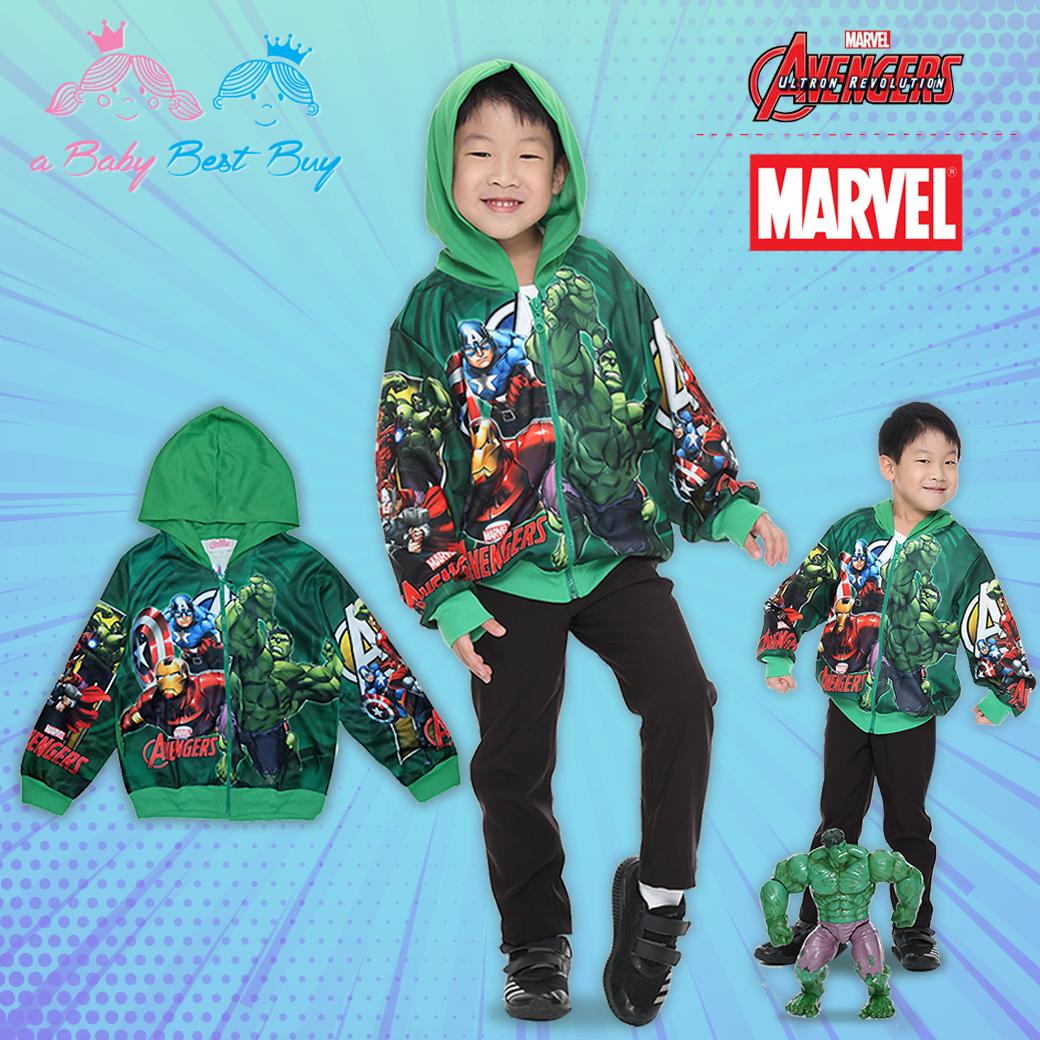 """"""" ( S-M-L-XL """" เสื้อแจ็คเก็ต เสื้อกันหนาว เด็กผู้ชาย Super Hero - The Avengers สีเขียว รูดซิป มีหมวก(ฮู้ด)ใส่คลุมกันหนาว กันแดด สุดเท่ห์ ใส่สบาย ลิขสิทธิ์แท้ (ไซส์ S-M-L-XL )"""
