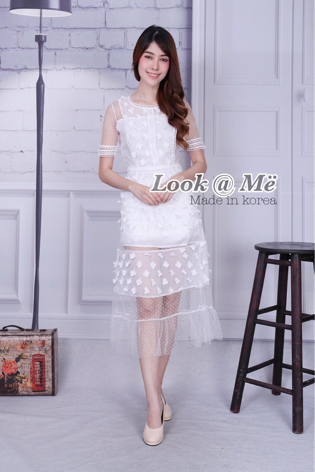 เดรสแฟชั่น Dress ชุดกระโปรงสุดหวานสีขาวมาเสริฟแล้วจร้า