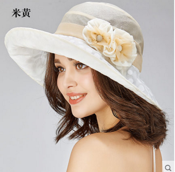 Pre-order หมวกผ้าไหมแท้ติดโบว์ดอกไม้แฟชั่นฤดูร้อน กันแดด กันแสงยูวี สวยหวาน สีครีม