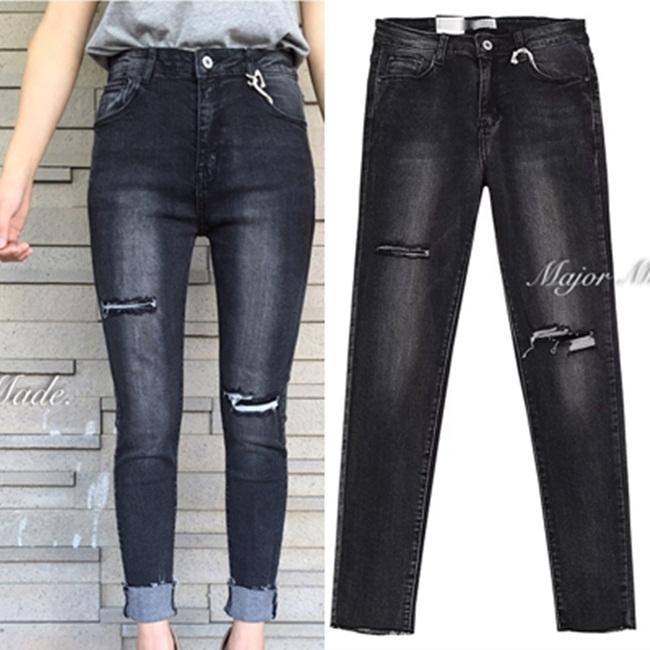 กางเกงแฟชั่น กางเกงขายาวสไตล์เกาหลี ทรงเอวสูง งานผ้ายีนฟอก