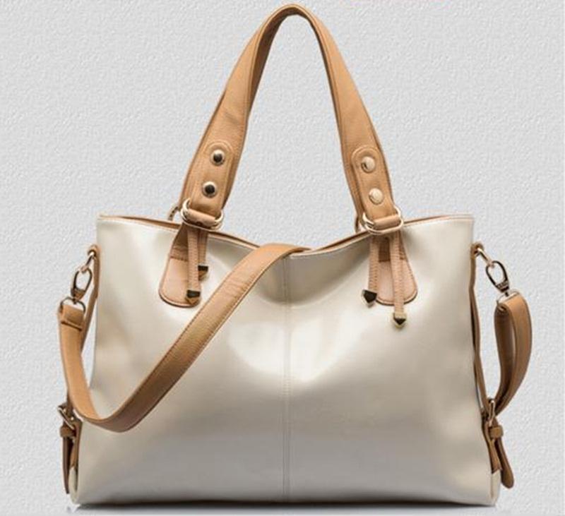 (Pre-order) กระเป๋าสะพายหนังแท้แบบเรียบๆ แฟชั่นกระเป๋าถือ ถุงสะพาย กระเป๋าสะพายสไตล์ยุโรป อเมริกา สีขาว