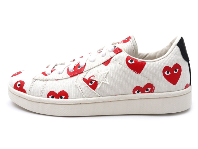PLAY COMME Des GARCONS CONVERSE Heart Print Pro Leather Low White