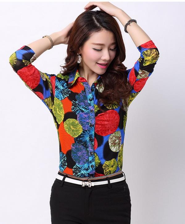 Pre-order เสื้อเชิ้ตชีฟองซีทรู แขนยาว เสื้อทำงาน พิมพ์ลายดอกไม้สีแดง ฟ้า เหลือง แฟชั่นสไตล์เกาหลี