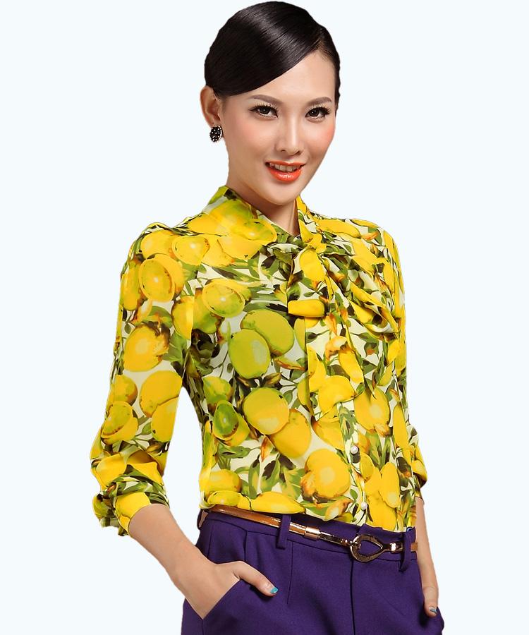 Pre-Order เสื้อผ้าแฟชั่นผู้หญิง คอผูก แขนยาว พิมพ์ลายมะนาว ผ้าชีฟองเนื้อดี สีเหลือง