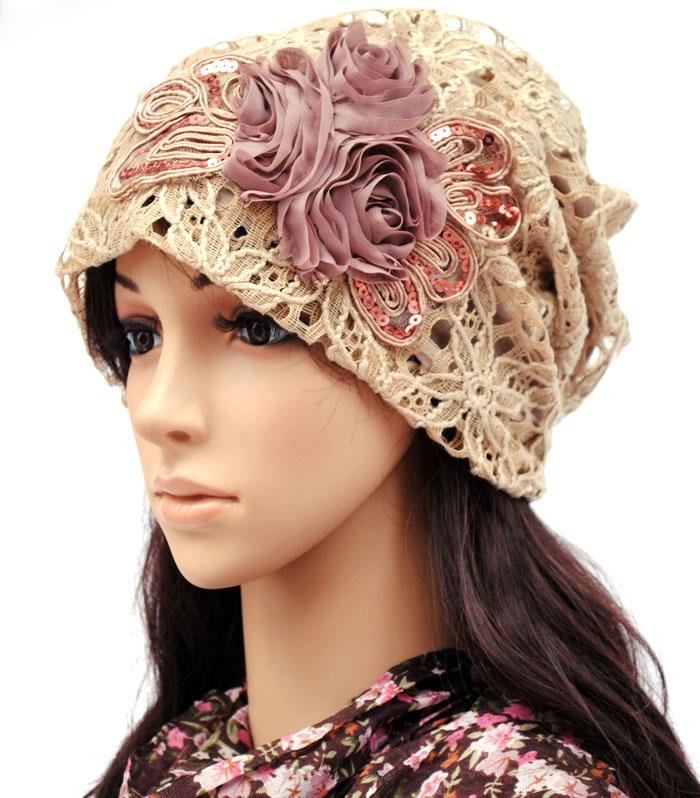 (Pre-order) หมวกคลุมผม หมวกไหมพรมผ้าฝ้ายถัก แฟชั่นหมวกคลุมผม สวยเก๋ ปักลวดลายตาข่าย-ดอกไม้ สีผ้าขนสัตว์ธรรมชาติ