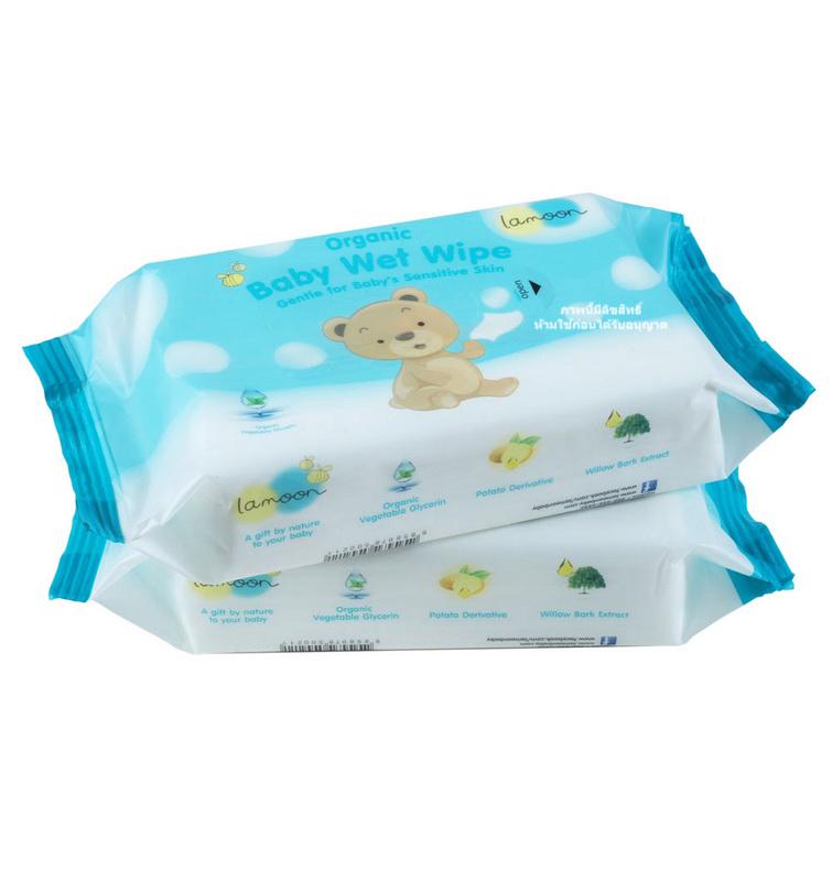[แพคคู่] ละมุน กระดาษทิชชู่เปียก ออร์แกนิค ขนาด 80 แผ่น Lamoon Organic Baby Wet Wipe