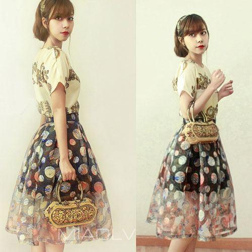 Goddess ++สินค้าพร้อมส่งค่ะ++ชุดแฟชั่นเซ็ทเกาหลี เสื้อคอกลม แขนเลย ผ้าไหมพิมพ์ลาย+กระปรงจีบทบ สไตล์ vintage baroque สวยเก๋ – สี Apricot