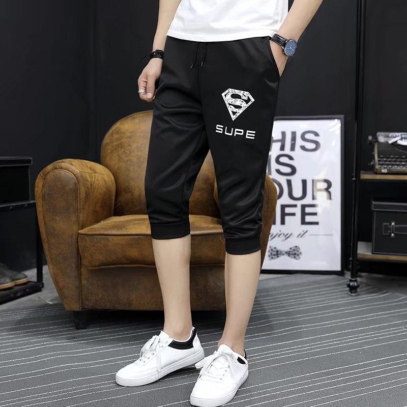 **พร้อมส่ง**กางเกงวอร์มเกาหลี ขาสามส่วน แต่งลาย SUPE สีดำ ไซส์ L