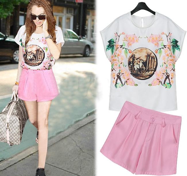 Pre Order - เสื้อ-กางเกงขาสั้นแฟชั่น ไซส์ใหญ่ เสื้อยืดพิมพ์ลาย กางเกงชาสั้นสีชมพูน่ารัก กระเป๋าหน้าหลัง