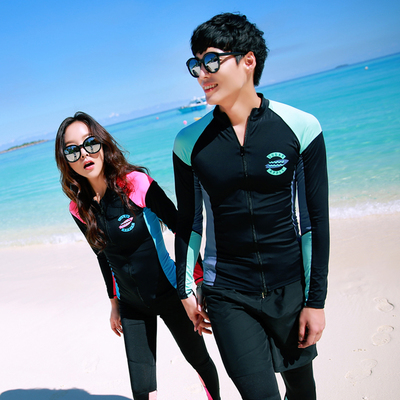 ชุดว่ายน้ำเกาหลี เสื้อแจ็คเก็ตแขนยาว แต่งแถบสี แนวนักดำน้ำ
