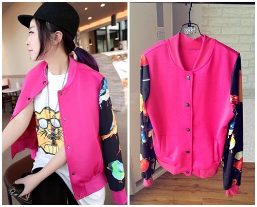 YHM++สินค้าพร้อมส่งค่ะ++jacket เกาหลี คอกลม แขนยาว สไตล์ baseball ผ้า cotton sweater เนื้อดีค่ะ แต่งแขนลายเท่ห์ - สี Red Rose
