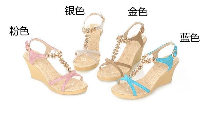 Pre Order - รองเท้าแฟชั่น ส้นตึกสูง รัดส้นเท้า เน้นโชว์เท้า สวย สี : สีทอง / สีเงิน / สีน้ำเงิน / สีชมพู