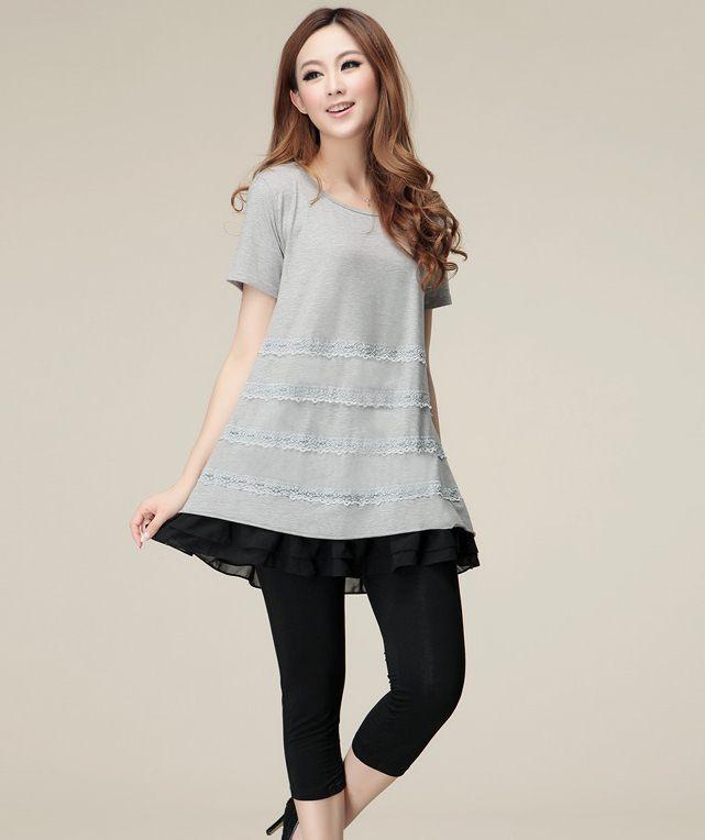 PreOrderไซส์ใหญ่ - เสื้อแฟชั่นเกาหลี ไซส์ใหญ่ คนอ้วน เสื้อยืดแต่งผ้าลูกไม้ และชีฟอง สีเทา