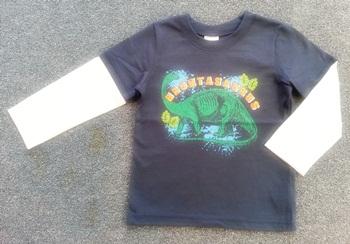 ฺBSH-218 (3Y) เสื้อเด็กชาย สีกรมท่าตัดต่อแขนสีครีม ลายBronta Saurus สีเขียว