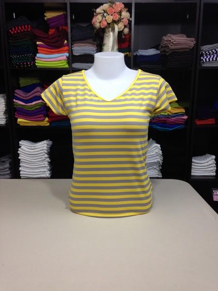 """เสื้อยืดคอวี ลายริ้วสีเหลือง-เทา size """"M"""""""