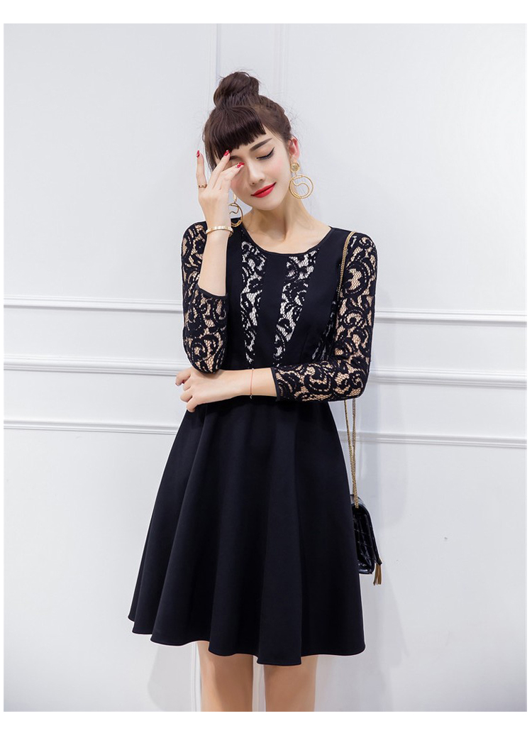 เดรสสีดำ ชุดสีดำ ตัวเสือด้านหน้าและแขนเสื้อเป็นผ้าลูกไม้สีดำ