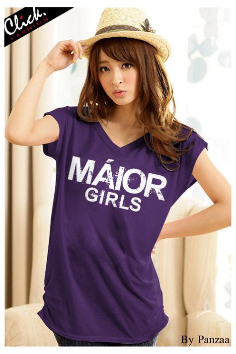 เสื้อยืดแฟชั่น ตัวยาว ผ้าเนื้อนิ่ม ลาย Maior สีม่วง ( ตัวยาว size เล็ก สำหรับสาวสะโพกไม่เกิน 38 นิ้ว)