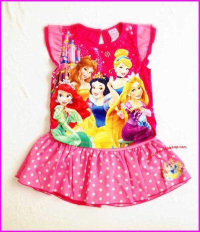 ชุดเสื้อผ้ามัน สีชมพูลายเจ้าหญิง พร้อมกระโปรงกางเกง ไซส์ L(6-7 ขวบ)