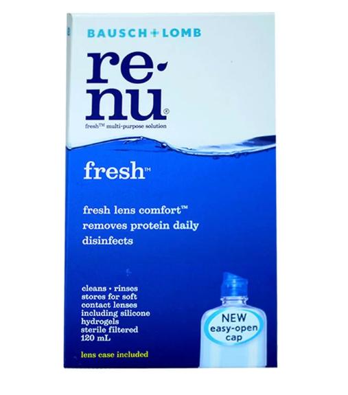 Renu Fresh Multi Purpose Solution 120 ml รีนิว เฟรช น้ำยาล้างคอนแทคเลนส์ 1 ขวด