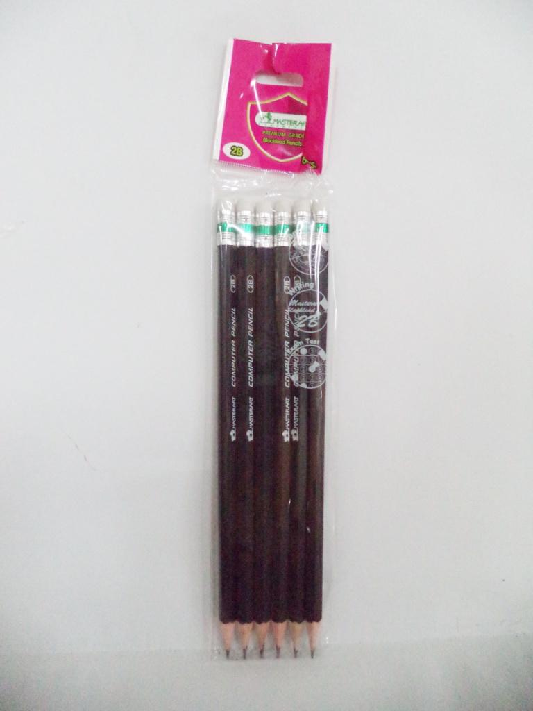 ดินสอไม้ 2B (ขายส่ง 12 แพ็ค-บรรจุแพ็คละ 6 ด้าม))