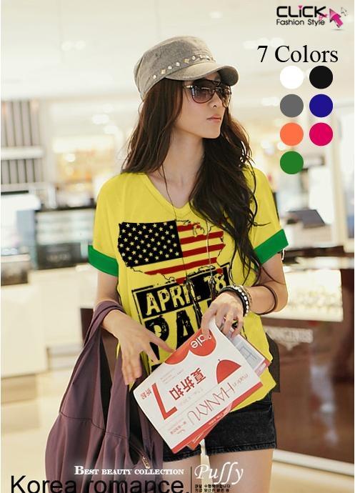 เสื้อยืดเกาหลี คอวี แขนเบิ้ล ลาย April 18 สีเหลือง (Size M : 36 )