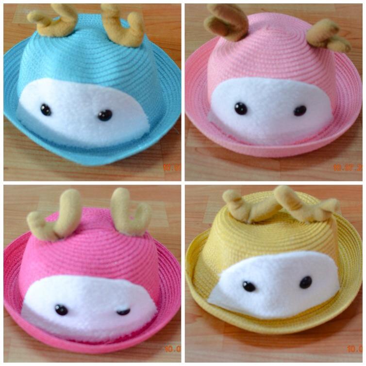 Y001-3**พร้อมส่ง** (ปลีก+ส่ง) หมวก สาน เด็ก ลายกวาง แฟชั่นเกาหหลี งานนำเข้า(Made in China)