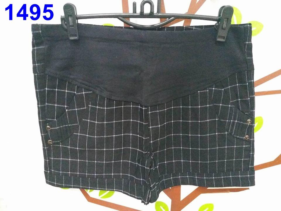 #กางเกงใส่ทำงานคุณแม่ ขาสั้นลานสก๊อตสีดำ มีกระเป๋าหลัง พร้อมสายปรับที่เอว ผ้านิ่มใส่สบายจร้า