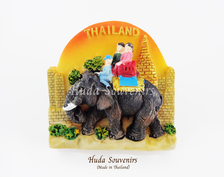 ของที่ระลึกไทย แม่เหล็กติดตู้เย็น ลวดลายช้างและคนนั่งบนหลังช้าง